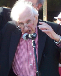 Studs Terkel at a universal health care rally, 2007